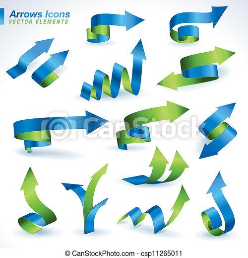 icônes, flèches, ensemble - csp11265011