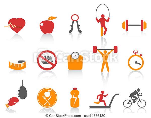 icônes, orange couleur, ensemble, série, fitness, simple - csp14586130