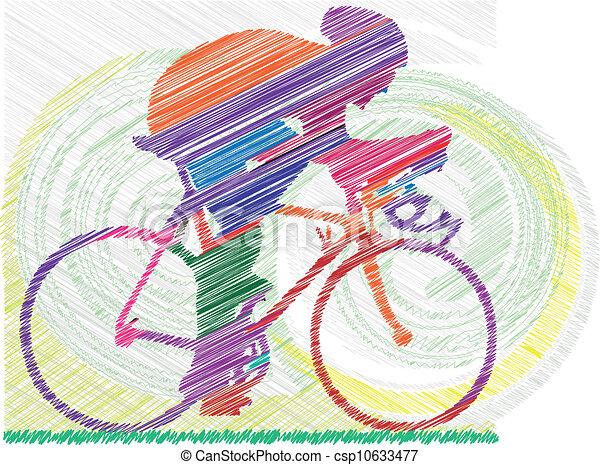 illustrat, vecteur, mâle, bicycle. - csp10633477