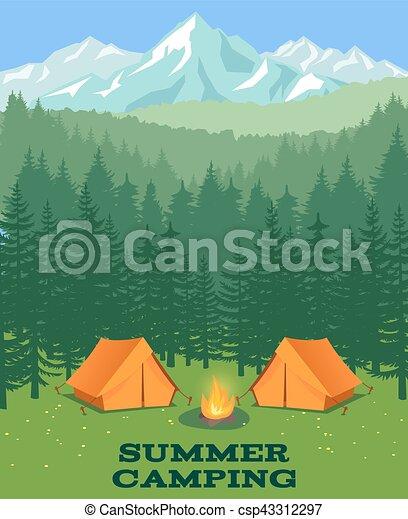 illustration., clairière, vecteur, camper tente, touriste, forêt - csp43312297