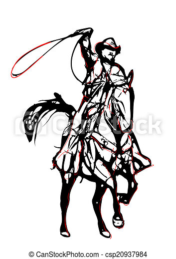illustration, cow-boy - csp20937984