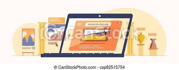 illustration., ligne, antiquité, examen, musée, numérique, application, culturel, exposition, toile, exposition., historique - csp82515754