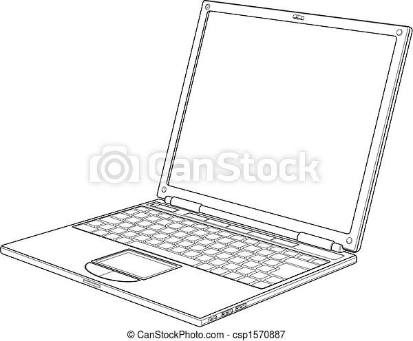 illustration, ordinateur portable, vecteur, contour - csp1570887