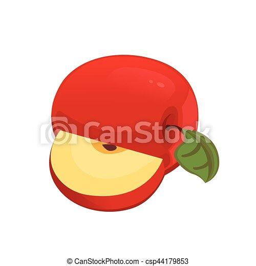 illustration., tranches, apple:, fruit., cuisine, moitié, vecteur, mordu, entier, rouges - csp44179853