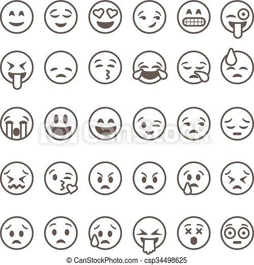 illustration., vecteur, emoticons, fond, isolé, blanc, ensemble, contour, emoji - csp34498625