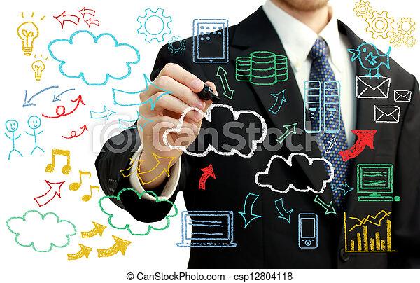 images, calculer, nuage, homme affaires, themed - csp12804118