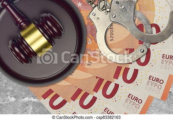 impôt, action éviter, procès, desk., marteau, tribunal, police, juge, judiciaire, euro, menottes, factures, concept, ou, 10, bribery. - csp83382163