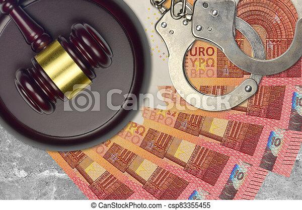 impôt, action éviter, procès, desk., marteau, tribunal, police, juge, judiciaire, euro, menottes, factures, concept, ou, 10, bribery. - csp83355455
