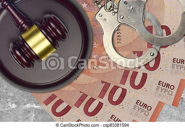 impôt, action éviter, procès, desk., marteau, tribunal, police, juge, judiciaire, euro, menottes, factures, concept, ou, 10, bribery. - csp83381594