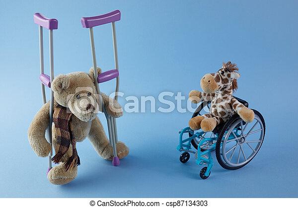 incapacités, personnes, signe bleu, jour, international, jouets, disabilities., fauteuil roulant, arrière-plan., différent - csp87134303