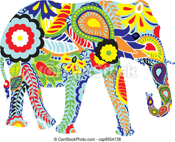 indi, silhouette, éléphant - csp9554138