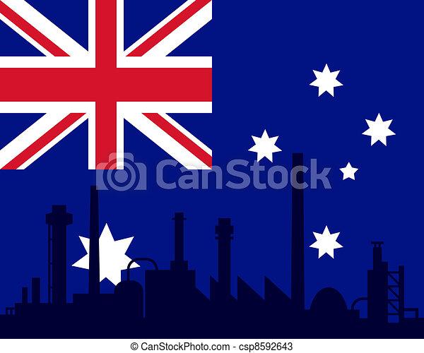 industrie, drapeau australie - csp8592643