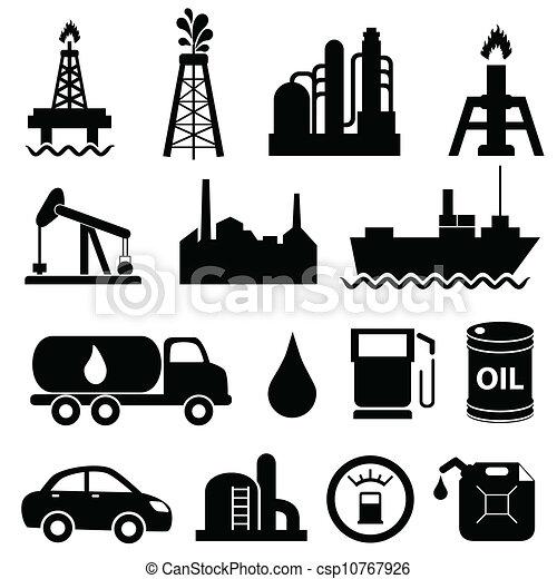 industrie, huile, ensemble, icône - csp10767926