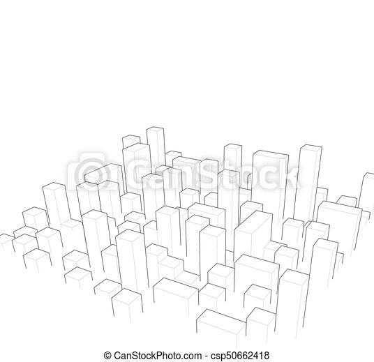 industriel, city., town., résumé, illustration, horizon, vecteur, paysage - csp50662418