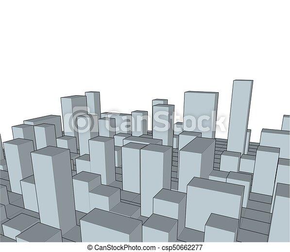industriel, city., town., résumé, illustration, horizon, vecteur, paysage - csp50662277