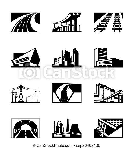 industriel, différent, construction - csp26482406