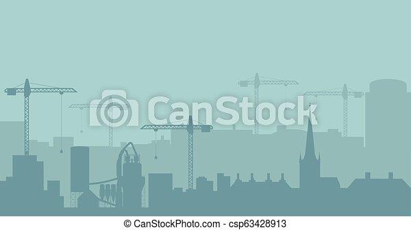 industriel, résumé, silhouette., panoramique, vecteur, illustratuion, skyline., construction, paysage - csp63428913