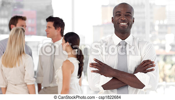 inf, debout, associez-vous guide, business, sourire, devant - csp1822684