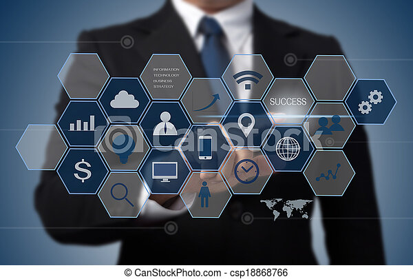 information, concept, business, fonctionnement, moderne, informatique, interface, technologie, homme - csp18868766