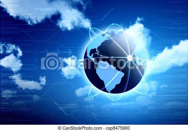 information, grand, technologie, calculer, image, arrière-plans, ou, conception, conceptuel, internet., principal, ton, nuage - csp8475900