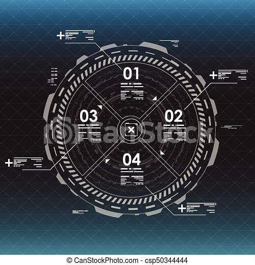 information, hud, graphique, elements., interface utilisateur, futuriste - csp50344444