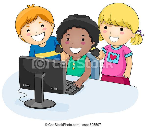 informatique, gosses - csp4605507