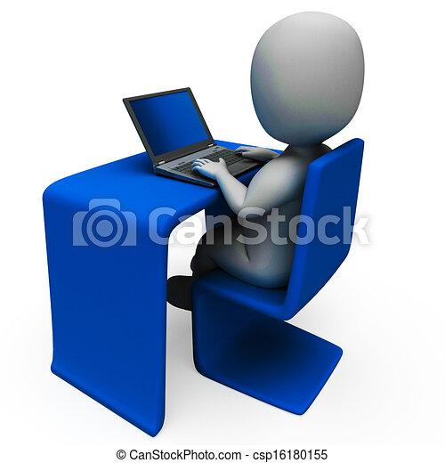 informatique, ouvrier, spectacles, bureau, dactylographie - csp16180155