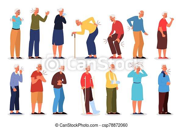 injury., vieux, illustration, vecteur, physique, gens, ensemble - csp78872060