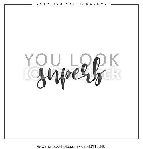 inscription, locution, isolé, superb, fond, blanc, calligraphie, vous, regard - csp38115348
