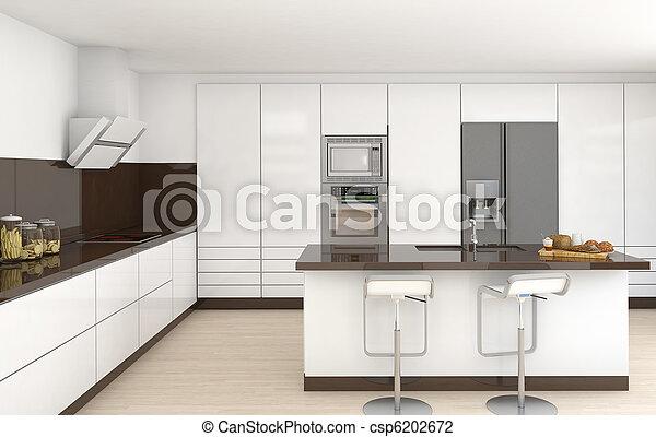 intérieur, brun, blanc, cuisine - csp6202672