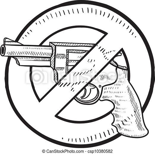 interdiction, croquis, pistolet - csp10380582
