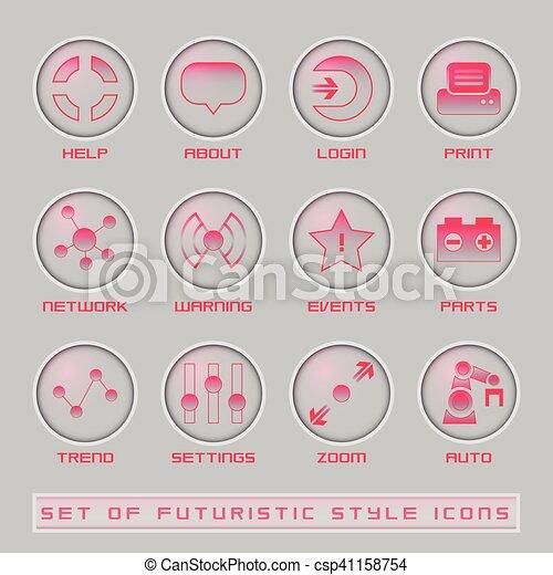 interface, ensemble, utilisateur, futuriste, icônes - csp41158754