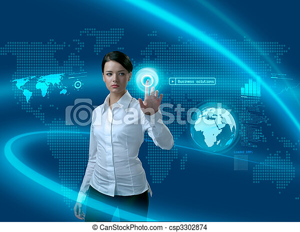 interface, femme affaires, avenir, solutions, business - csp3302874