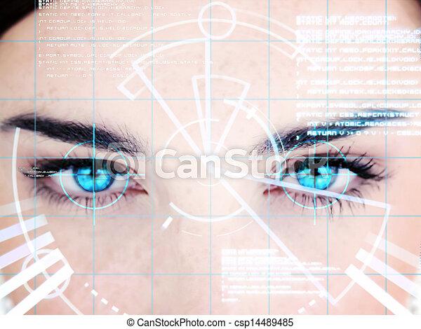 interface, femme, observé, bleu - csp14489485