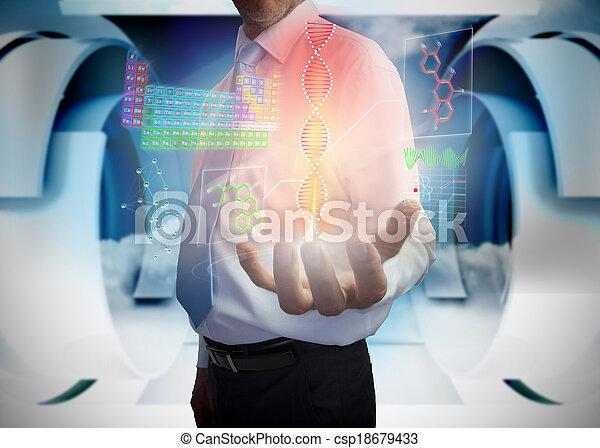 interface, homme affaires, présentation, monde médical - csp18679433