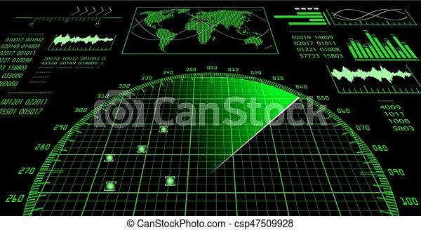 interface, hud., utilisateur, radar, écran, futuriste - csp47509928