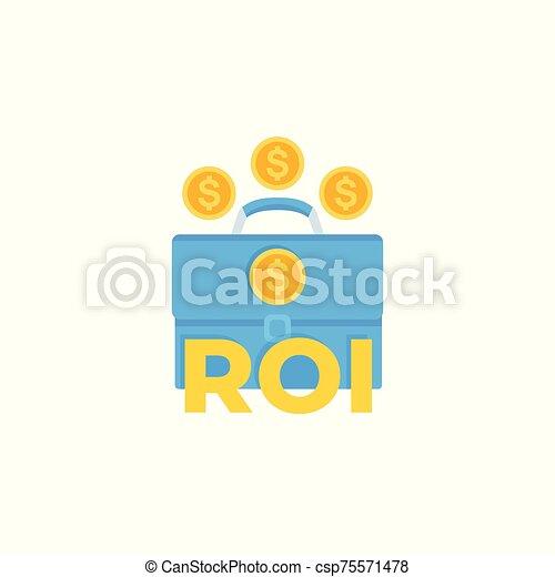 investissement, icône, retour, roi - csp75571478