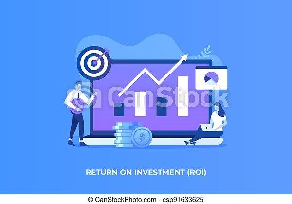 investissement, plat, concept, illustration, retour - csp91633625