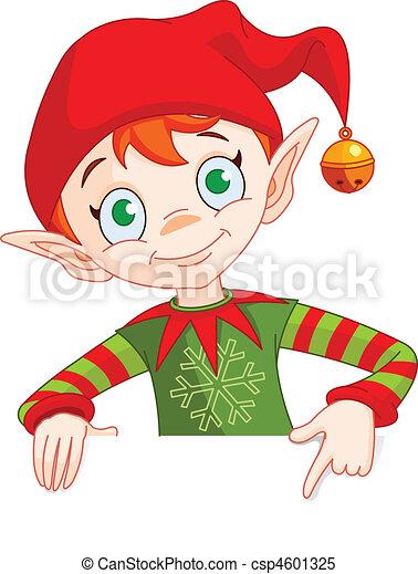 inviter, elfe, carte, endroit, noël, & - csp4601325