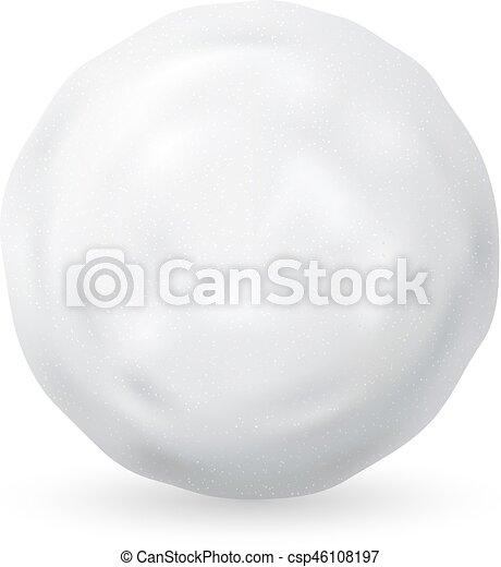 isolé, illustration, arrière-plan., boule de neige, vecteur, blanc - csp46108197