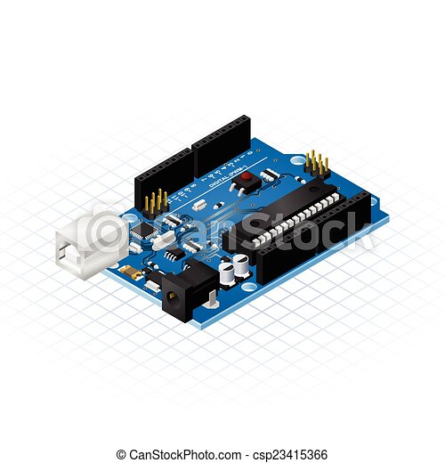 isométrique, planche, unique, microcontrol - csp23415366