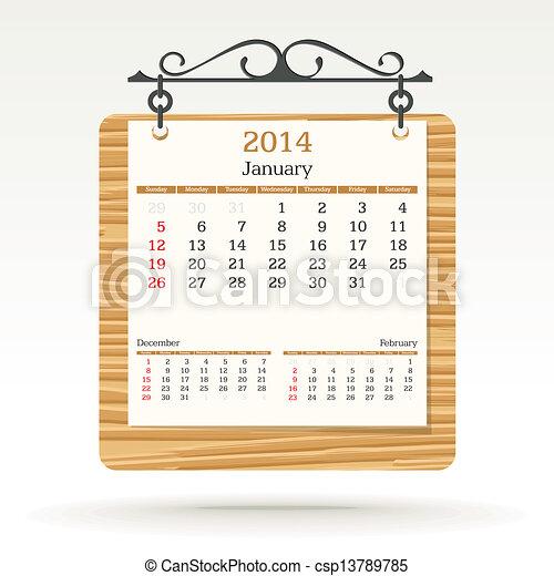 janvier, calendrier, -, 2014 - csp13789785