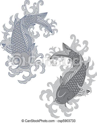 japonaise, koi, (carp, style, fish) - csp5903733
