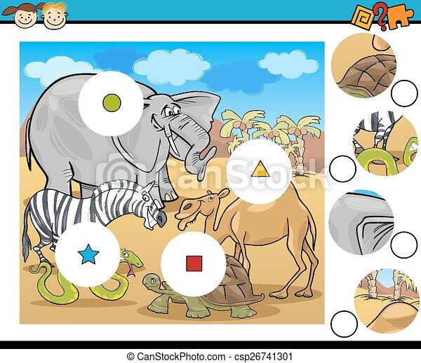 jeu, dessin animé, allumette, morceaux - csp26741301