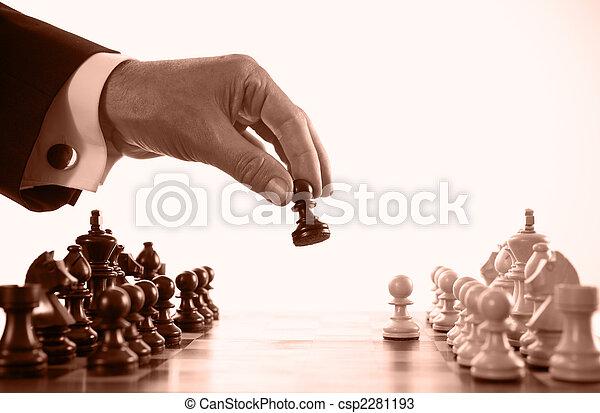 jouer, homme affaires, jeu, sépia, échecs, tonalité - csp2281193