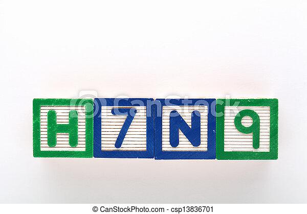 jouet alphabet, h7n9, bloc - csp13836701