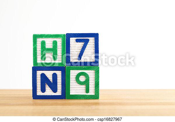 jouet alphabet, h7n9, bloc - csp16827967