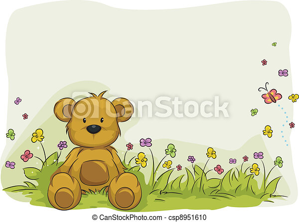 jouet, ours, feuillage, fond - csp8951610
