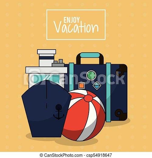 jouir de, balle, coloré, bagage, affiche, vacances, bateau croisière, plage - csp54918647