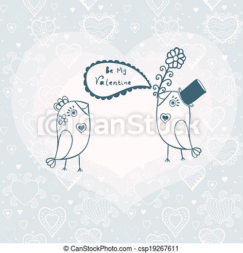 jour, ton, carte, text., illustration, endroit, séance, oiseaux, love., deux, romantique, valentine, dessin animé, arbre., beau, branche - csp19267611